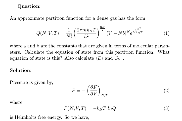 Equation of State of a Dense Gas