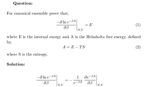 Internal Energy of Canonical Ensemble and Helmholtz Free Energy