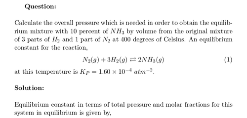 Total Pressure of Equilibrium Mixture