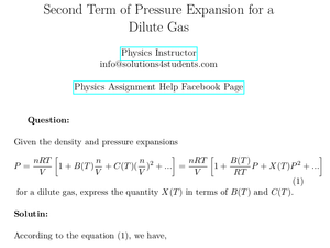 Second Term of Pressure Expansion for a Dilute Gas