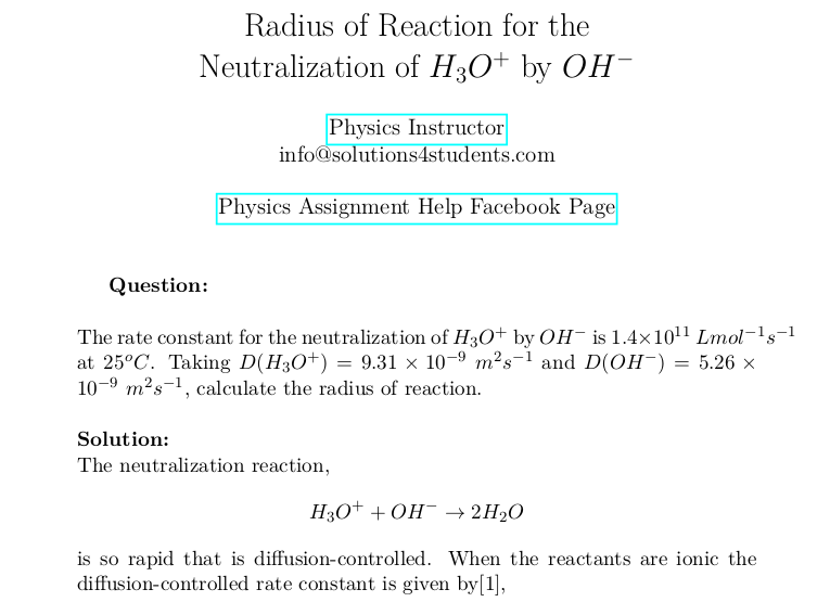 Radius of Reaction for the Neutralization of H3O(+) by OH(−)
