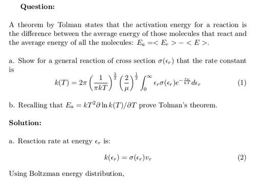 Rate Constant and Tolman's Theorem for a General Reaction