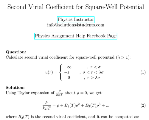 Second Virial Coefficient for Square-Well Potential