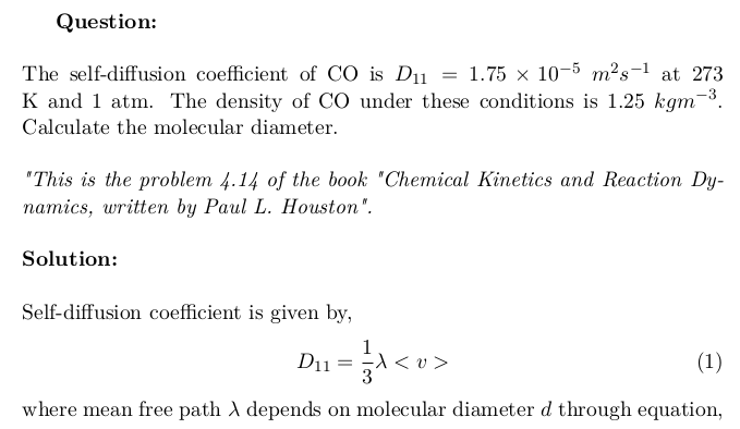 Calculation of Molecular Diameter of CO Molecules using Self-Diffusion Coefficient