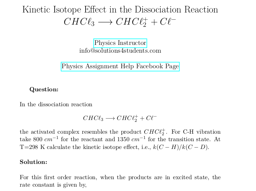 Kinetic Isotope Effect in the Dissociation Reaction CHCl3 → CHCl2(+) + Cl(-)