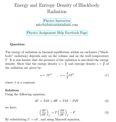 Energy and Entropy Density of Blackbody Radiation