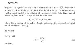 Chemical Potential of Rubber Band