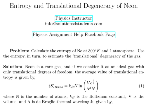Entropy and Translational Degeneracy of Neon