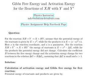 Gibbs Free Energy and Activation Energy for the Reactions of XH with Y and Y'