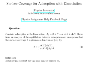 Surface Coverage for Adsorption with Dissociation