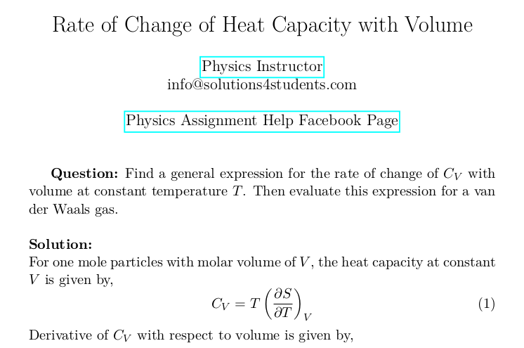 Rate of Change of Heat Capacity with Volume