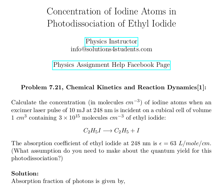 Concentration of Iodine Atoms in Photodissociation of Ethyl Iodide