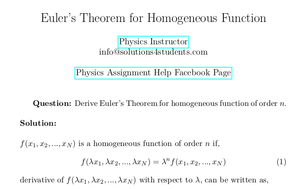 Euler's Theorem for Homogeneous Function