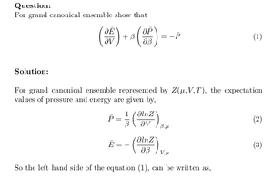 Grand Canonical Ensemble: Partial Differential Equation between Average Pressure and Energy