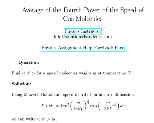 Average of the Fourth Power of the Speed of Gas Molecules