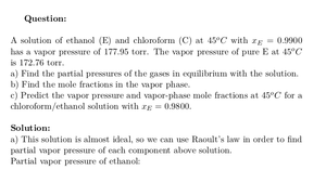 Partial Pressures and Mole Fractions of Ethanol and Chloroform Solution