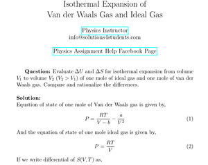 Isothermal Expansion of Ideal Gas and Van der Waals Gas