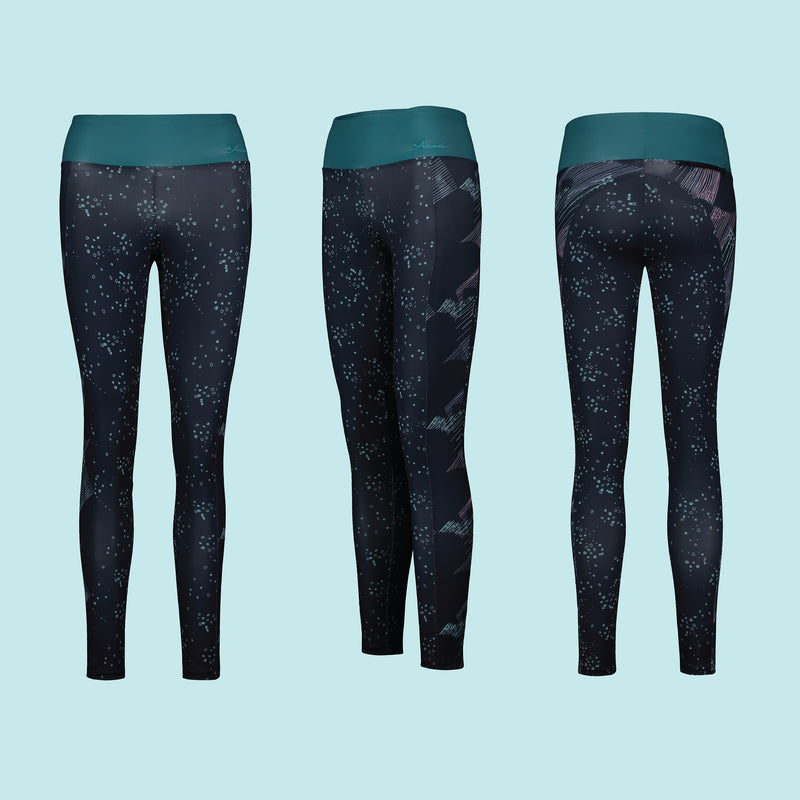 Eco Friendly Second Skin Swim & Surf Leggings in Navy Geoluminescence With +50 UPF - Anowi Surfwear