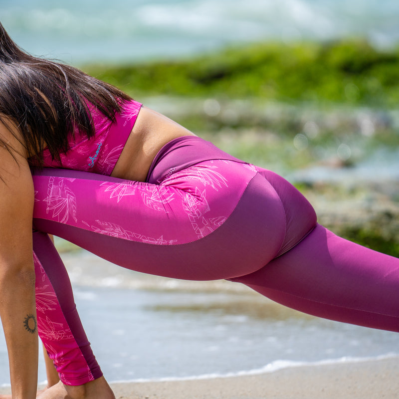 Eco Friendly Second Skin Swim & Surf Leggings in Pink Very Berry With +50 UPF - Anowi Surfwear