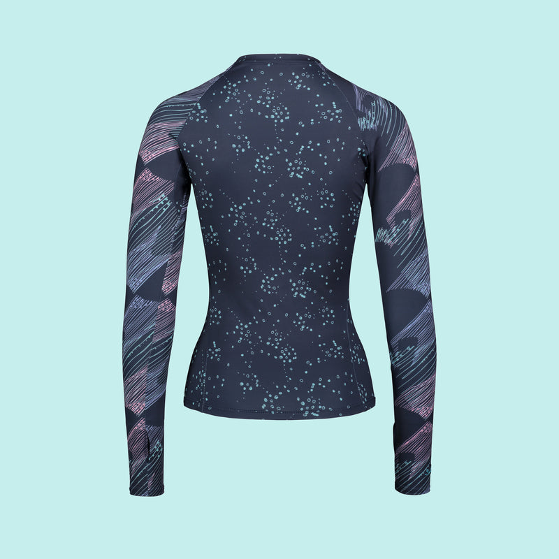 Second Skin Eco Friendly Rash Guard For Women With +50 UPF in Navy Geoluminescence - Anowi Surfwear