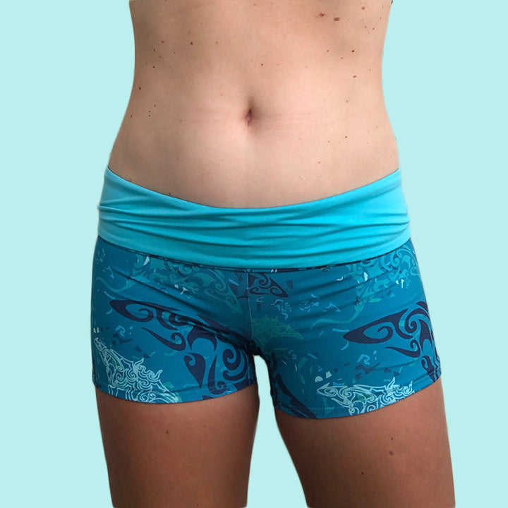 Eco Friendly Second Skin Reversible High Waisted Swim Short +50 UPF in Teal Manta Ray Camo - Anowi Surfwear