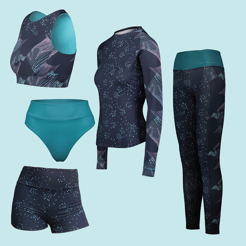 Navy Geoluminescence Eco Friendly Swim & Surf wear Bundle +50 UPF - Anowi Surfwear