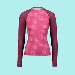 Second Skin Eco Friendly Rash Guard For Women With +50 UPF in Pink Very Berry - Anowi Surfwear