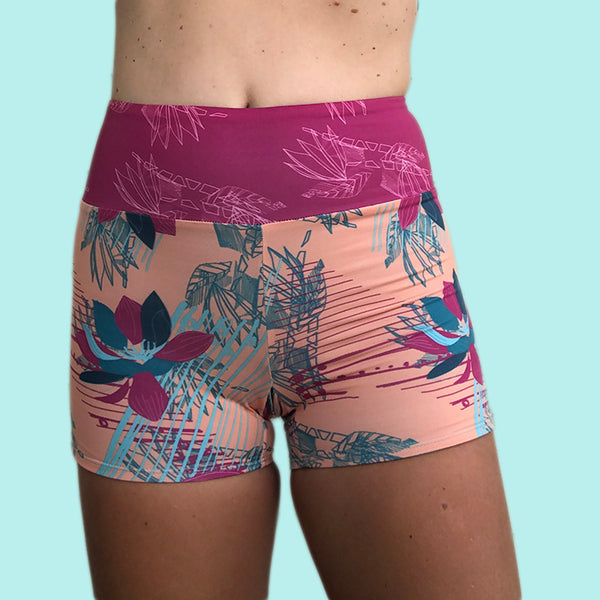 Eco Friendly Second Skin Reversible High Waisted Swim Short +50 UPF In Peach Rhapsody/ Blue Radiance - Anowi Surfwear