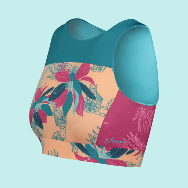 Beach 67 Sports Bra Swim Top in Tropical Rhapsody