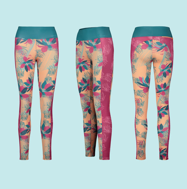 Eco Friendly Second Skin Swim & Surf Leggings in Peach Tropical Rhapsody With +50 UPF - Anowi Surfwear