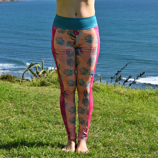 Eco Friendly Second Skin Surf Leggings in Peach Tropical Rhapsody With +50 UPF - Anowi Surfwear