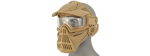 2607T Full Face Mask w/ Goggle Lens Eye Protection (Tan)