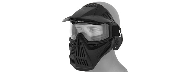 2607B Full Face Mask w/ Goggle Lens Eye Protection (Black)