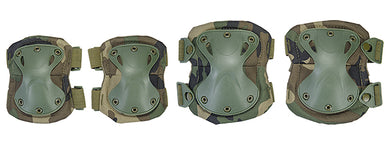 AC-478W Tactical Quick-Release Knee & Elbow Pad Set (Woodland Camo)