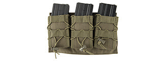 AC-1843GN Lancer Tactical 1000D Nylon Molle Triple AR Mag Pouch (OD Green)