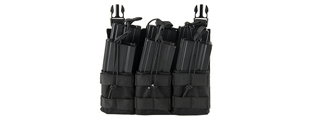 Lancer Tactical CA-292T Adaptive Hook and Loop Triple Dual Mag Pouch (Black)