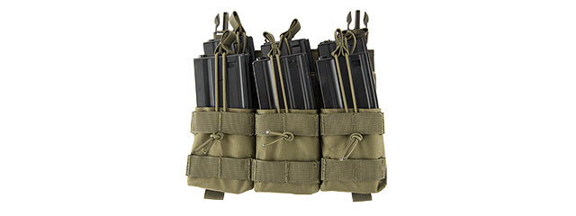 Lancer Tactical CA-292T Adaptive Hook and Loop Triple Dual Mag Pouch (OD GREEN)