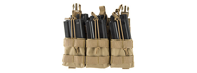 Lancer Tactical CA-292T Adaptive Hook and Loop Triple Dual Mag Pouch (TAN)