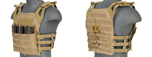CA-312Y Lancer Tactical 600D Polyester Airsoft JPC Plate Carrier w/Molle Webbing (Tan)