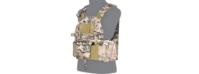 Lancer Tactical SLK Plate Carrier w/Side Plate Dual-Mag Compartment Multicam