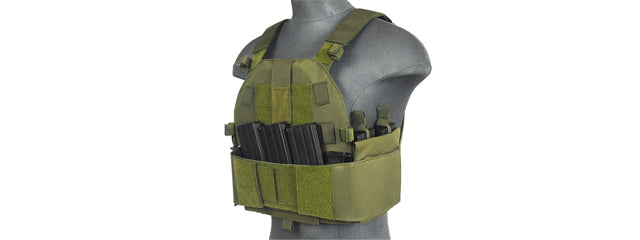 Lancer Tactical SLK Plate Carrier w/Side Plate Dual-Mag Compartment OD Green