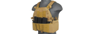 Lancer Tactical SLK Plate Carrier w/Side Plate Dual-Mag Compartment Tan