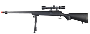 MB07BAB Well VSR-10 Bolt Action Sniper Rifle w/Fluted Barrel, Scope & Bipod (Color: Black)