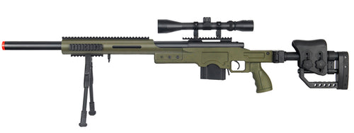 Wellfire MB4410 Bolt Action Sniper Rifle w/ Scope And Bipod Green