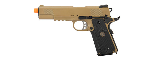 WE Tech 1911 Full Metal MEU Airsoft Gas Blowback Pistol (Tan)