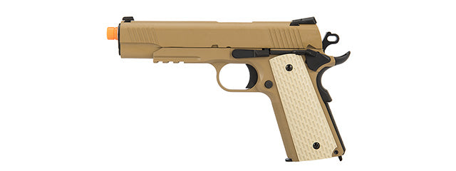 WE-E010-T WE Tech Kimber Style 1911 Gas Blowback Airsoft Pistol (TAN)