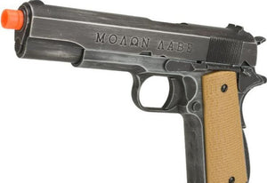 "AW Custom Full Metal Custom ""Molon Labe"" Weathered 1911A1 Airsoft Gas Blowback Pistol (Color: Desert Grip)"