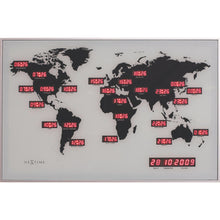 Load image into Gallery viewer, NeXtime - Wall clock – 55 x 36 x 4 cm - Glass - Aluminum - World time clock - Red - 'World Time Digit'