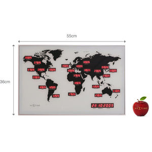 NeXtime - Wall clock – 55 x 36 x 4 cm - Glass - Aluminum - World time clock - Red - 'World Time Digit'