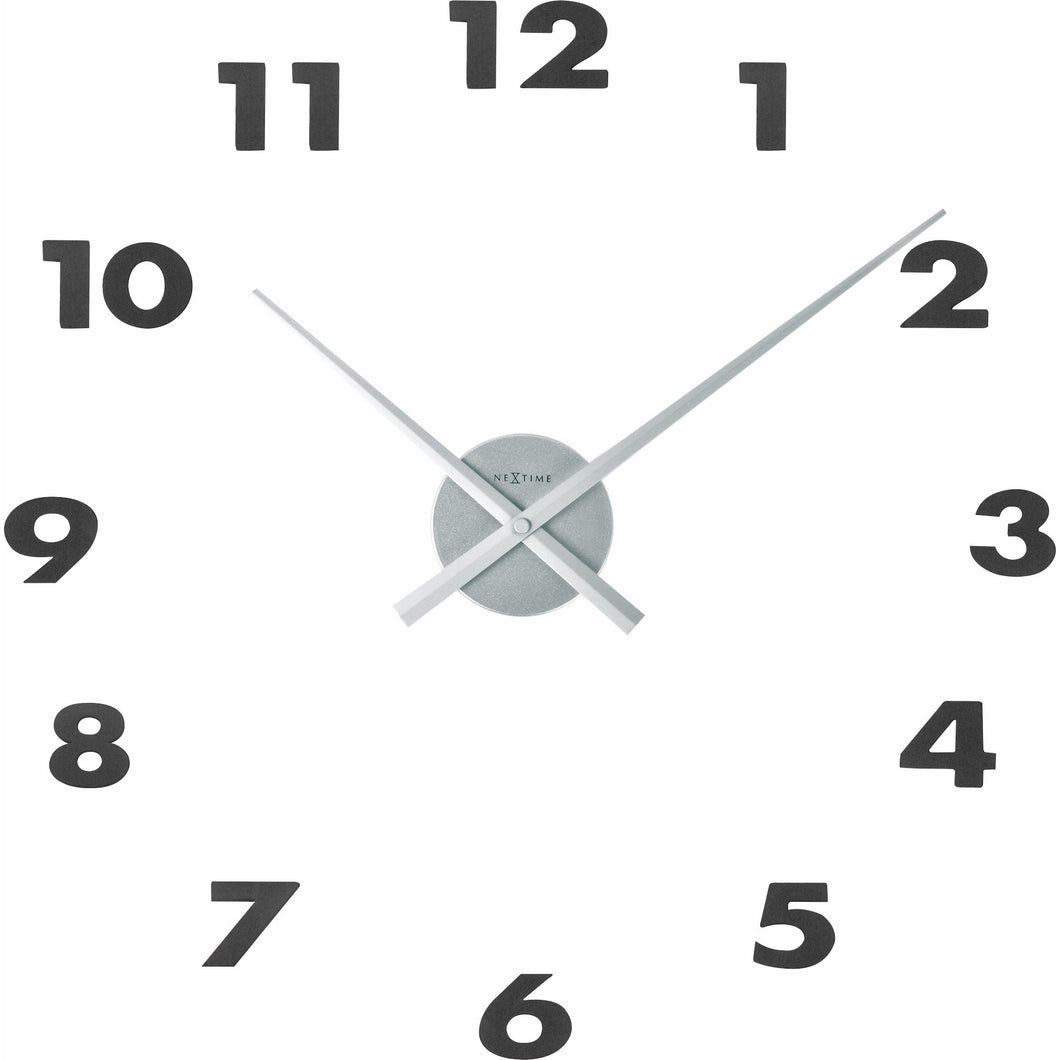 NeXtime - Wall clock – 48 x 3 cm – Aluminum - Silver - 'Small Hands'